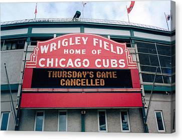 Canvas Print featuring the photograph Wrigley Field Weeps For America by Sheri Keith