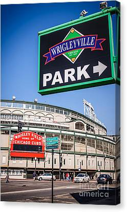 Wrigleyville Sign And Wrigley Field Canvas Print by Paul Velgos