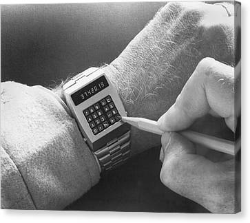 Wristwatch Calculator Canvas Print by Underwood Archives