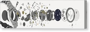 Wristwatch, Exploded-view Diagram Canvas Print by Nikid Design Ltd / Dorling Kindersley