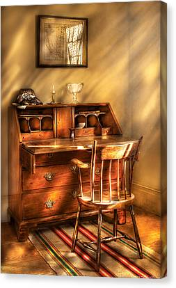 Writer - A Chair And A Desk Canvas Print by Mike Savad