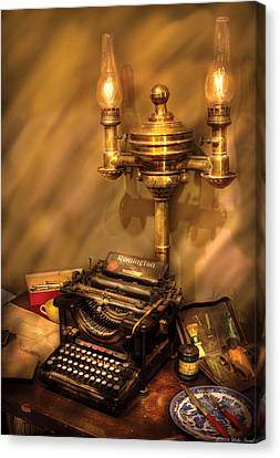 Writer - Remington Typewriter Canvas Print by Mike Savad