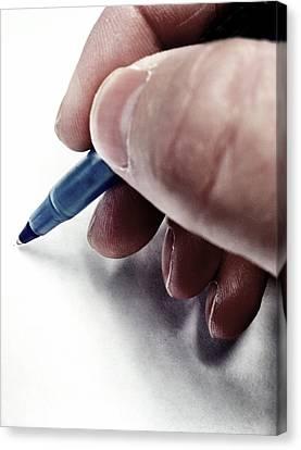 Printins Canvas Print - Writing With Pen by Lane Erickson