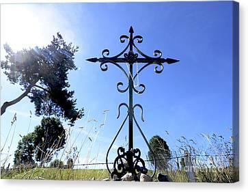 Wrought Iron Cross In Margeride. Haute Loire Canvas Print by Bernard Jaubert