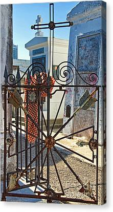 Antique Ironwork Canvas Print - Wrought Iron Gate And Marie Laveau New Orleans by Kathleen K Parker