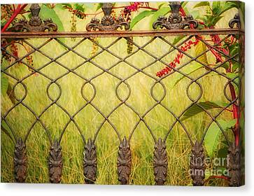 Wrought Iron With Red And Green Canvas Print by Kathleen K Parker