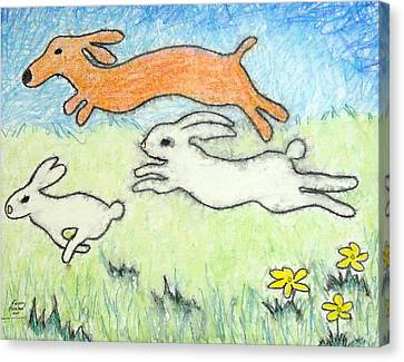 Wunning Wif Wabbits Canvas Print