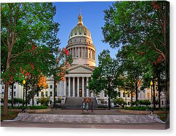 Wv Capitol As Dusk Canvas Print by Mary Almond