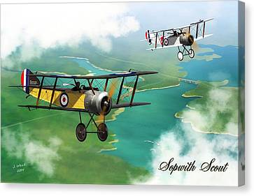 Ww1 British Sopwith Scout Canvas Print by John Wills