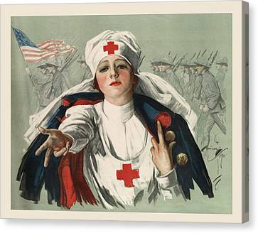 Red Roof Canvas Print - Ww2 Red Cross by Georgia Fowler