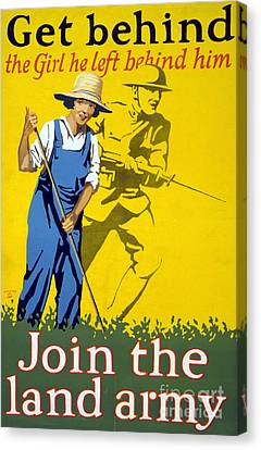 Wwi Join The Land Army 1918 Canvas Print by Photo Researchers