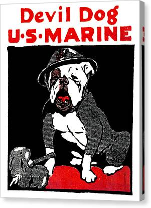 Wwi Marine Corps Devil Dog Canvas Print by Historic Image