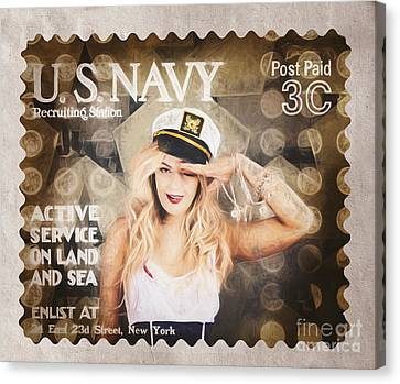 Wwi Recruiting Postage Stamp. Navy Sailor Girl Canvas Print