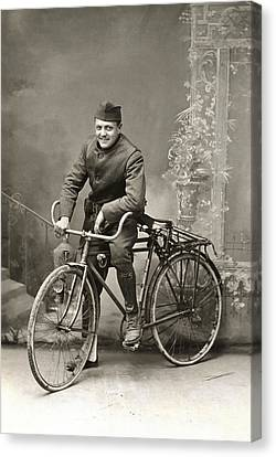 Wwi Us Army Bicyclist Canvas Print by Historic Image
