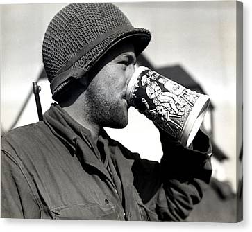 Wwii American Soldier Drinking Beer Canvas Print by Historic Image