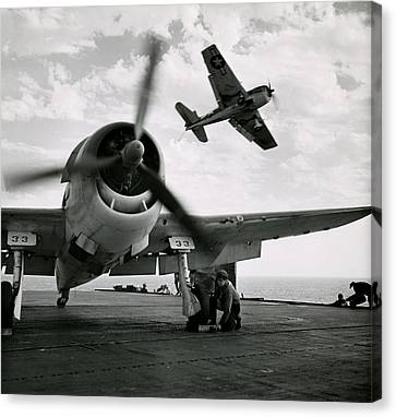 Wwii Us Navy Hellcats Canvas Print