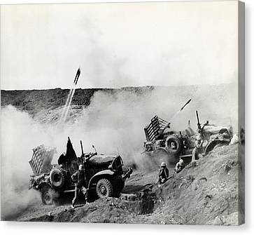 Wwii Usmc Rockets On Iwo Jima Canvas Print by Historic Image