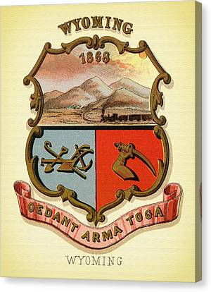Wyoming Coat Of Arms - 1876 Canvas Print by Mountain Dreams