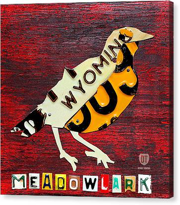 Meadowlark Canvas Print - Wyoming Meadowlark Wild Bird Vintage Recycled License Plate Art by Design Turnpike