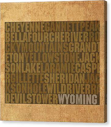 Wyoming Word Art State Map On Canvas Canvas Print by Design Turnpike
