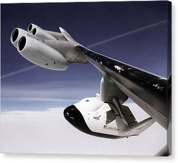 X-38 Spacecraft On B-52 Wing Canvas Print by Nasa
