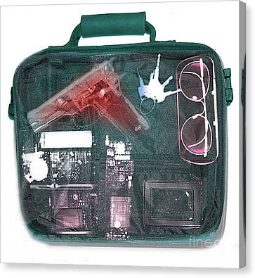 Terrorist Canvas Print - X-ray Of A Briefcase With A Gun by Scott Camazine
