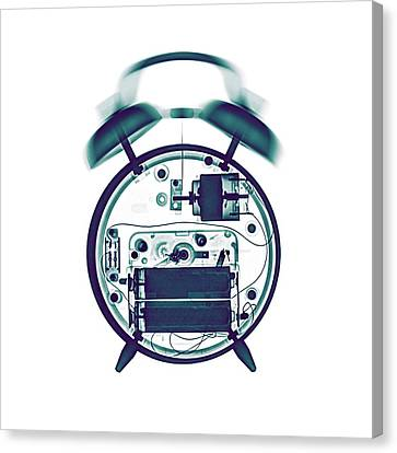 X-ray Of A Mechanical Alarm Clock Canvas Print by Photostock-israel