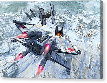 X-wing Attacking Tie Fighter Over An Canvas Print by Kurt Miller