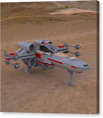 X-wing On The Ground Canvas Print by John Hoagland