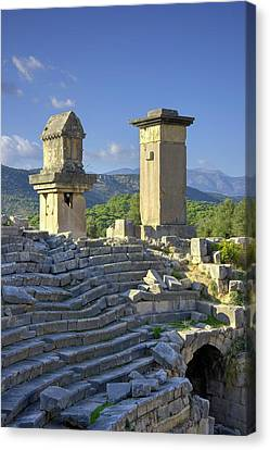 Xanthos Tombs And Amphitheatre Canvas Print by David Parker
