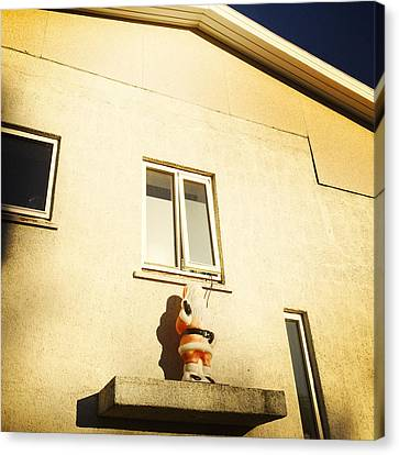 Xmas Decoration With Santa In June Akureyri Iceland Canvas Print by Matthias Hauser