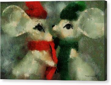 Gerbil Canvas Print - Xmas Mice 02 Photo Art by Thomas Woolworth