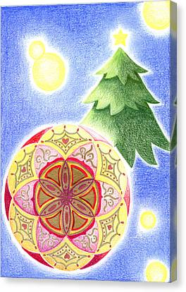 Canvas Print featuring the drawing X'mas Ornament by Keiko Katsuta