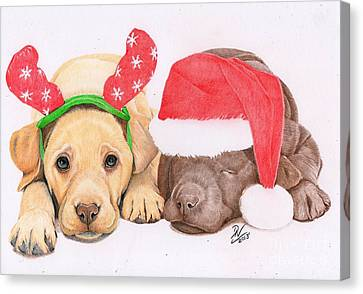 Xmas Pups Canvas Print by Deborah Nicholas