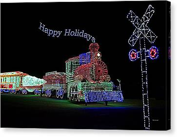 Xmas Tree Train Happy Holidays Canvas Print