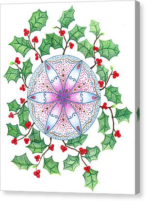 Canvas Print featuring the drawing X'mas Wreath by Keiko Katsuta