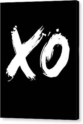 Inspirational Canvas Print - Xo Poster Black by Naxart Studio