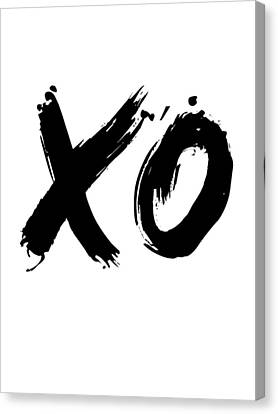 Inspirational Canvas Print - Xo Poster White by Naxart Studio