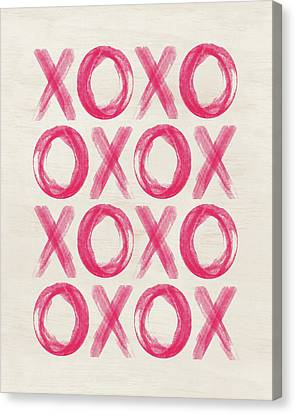 Xo Watercolor Canvas Print by Amy Cummings