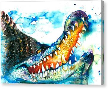 Blau Canvas Print - Xxl Format Crocodile Watercolor by Tiberiu Soos