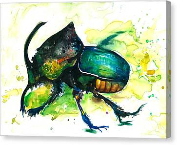 Xxl Format Scarab Rainbow Rhinoceros Beetle - Insect Art Canvas Print
