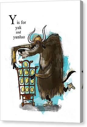 Yak Canvas Print - Y Is For Yak by Sean Hagan