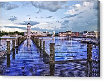 Yacht And Beach Club Lighthouse Canvas Print