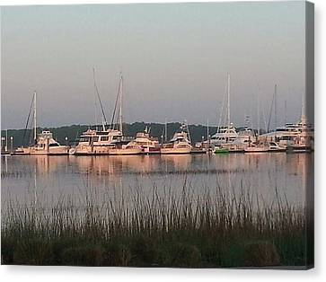 Yacht And Harbor View Canvas Print