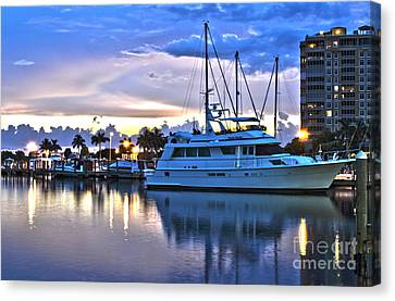 Canvas Print featuring the photograph Yacht At Marina In Cape Coral by Timothy Lowry