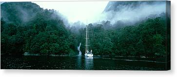 Yacht In The Ocean, Fiordland National Canvas Print