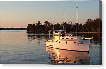 Sailing Canvas Print - Yacht Parked In Nossa River At Sunset by Xin Yan