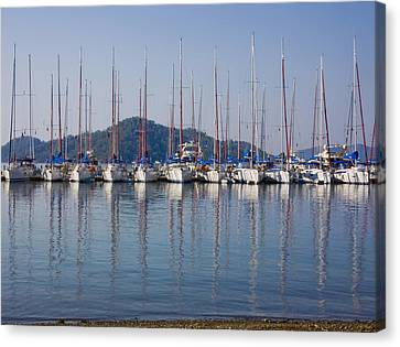 Yachts Docked In The Harbor Gocek Canvas Print by Christine Giles