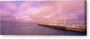 Yachts Moored At A Harbor, San Canvas Print by Panoramic Images