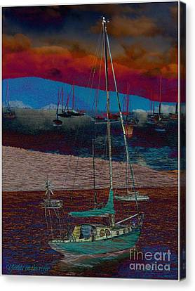 Canvas Print featuring the photograph Yachts On The River by Leanne Seymour